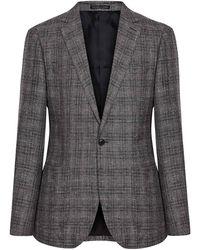 Reiss Glade - Slim Fit Checked Blazer - Grey