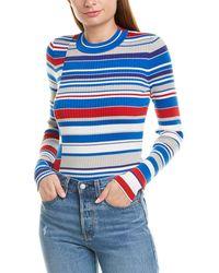 Rag & Bone Mason Striped Crewneck Long-sleeve Rib Top - Blue