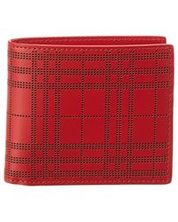 Burberry - Perforated Check Leather International Bifold Wallet - Lyst