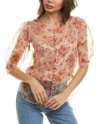 The Kooples Elbow-sleeve Floral Silk Top - Pink