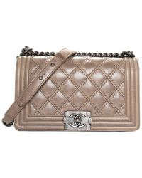 Chanel Taupe Quilted Distressed Leather Medium Boy Bag - Multicolour