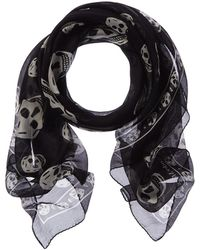 Alexander McQueen Skull Silk-blend Scarf - Black