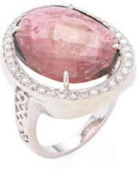 Bavna 18k White Gold, Tourmaline & 0.40 Total Ct. Diamond Ring - Red