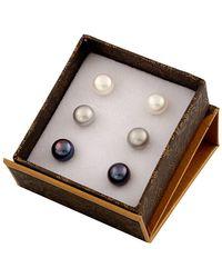 Splendid Rhodium Plated Silver 8-9mm Freshwater Pearl Earring Set - Metallic