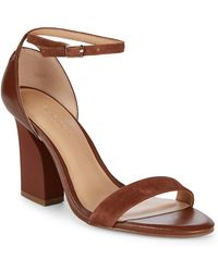 Halston - Leather Snake-print Block-heels - Lyst