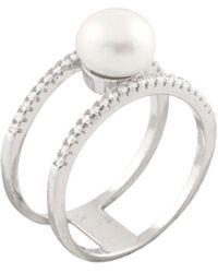 Splendid Silver 8-8.5mm Freshwater Pearl & Cz Ring - Metallic