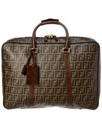 Fendi Brown Zucca Canvas & Brown Leather Large Briefcase