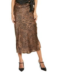 Cami NYC Jessica Silk Midi Skirt - Brown