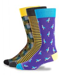 Unsimply Stitched Three-pack Printed Crew Socks - Multicolour