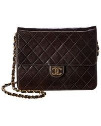 Chanel Black Quilted Lambskin Leather Small Single Flap Bag