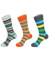 Unsimply Stitched Set Of 3 Crew Socks - Blue