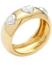 Vendoro - Two-tone Gold & 0.16 Total Ct. Diamond Heart Station Ring - Lyst