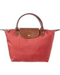 Longchamp Le Pliage Small Nylon Short Handle Tote - Red