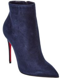 Christian Louboutin So Kate 100 Veau Velours Suede Bootie - Blue