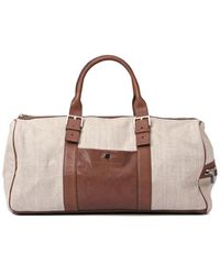 Brunello Cucinelli Linen-blend Duffle Bag - Multicolour