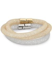 Swarovski - Set Of Two Crystal And Stainless Steel Bracelet - Lyst