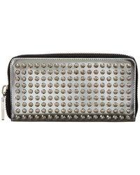 Christian Louboutin Panettone Studded Metallic Leather Zip-around Wallet