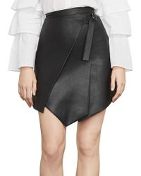 BCBGMAXAZRIA - Faux Leather Wrap Front Skirt - Lyst