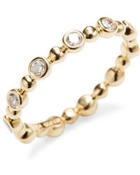 Nephora | 14k Yellow Gold Diamond Bezel Stackable Ring | Lyst