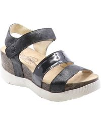 Fly London Weko Leather Wedge Sandal - Black