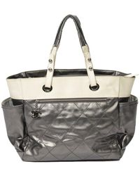 Chanel Silver & Beige Quilted Canvas Zip Tote - Multicolor