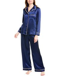 Cosabella Artisan Silk Pajama Set - Blue