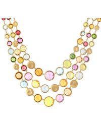 Marco Bicego Jaipur Colour 18k Gemstone Three Strand Necklace - Metallic