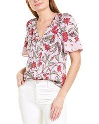 Rebecca Taylor Zadie Fleur Silk-blend Top - Pink