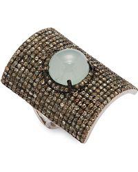Bavna - Diamond, Aquamarine & Sterling Silver Ring - Lyst