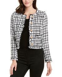 Walter Baker Baca Faux Leather-trimmed Bouclé-tweed Jacket White