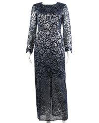 Chanel Blue Sheer Lace Long Sleeve Dress, Size Fr 38