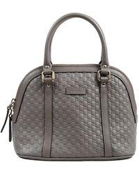 Gucci Gray Microsima Leather Mini Dome Bag