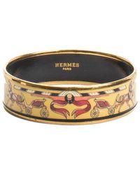 Hermès Wide Enamel Bangle - Metallic