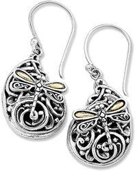 Samuel B. Jewellery Sterling Silver & 18k Balinese Dragonfly Earrings - Metallic