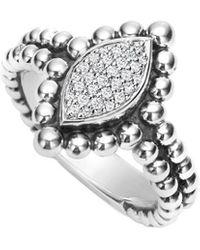 Lagos Caviar Spark Silver 0.16 Ct. Tw. Diamond Ring - Metallic
