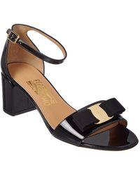 Ferragamo Vara Patent Ankle Strap Sandal - Black