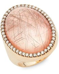 Roberto Coin - Diamond And 18k Yellow Gold Oval Ring - Lyst