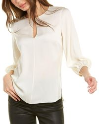 Theory Elbow Sleeve Silk-blend Top - White