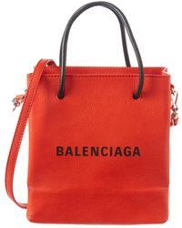 Balenciaga - Marquetry Logo Leather Tote - Lyst