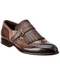 Santoni Leather Wingtip Oxford - Brown