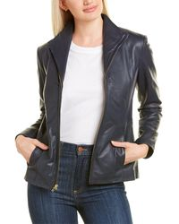 Cole Haan Leather Jacket - Blue