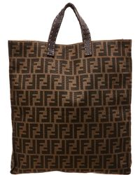 d20b1493f387 Fendi - Brown Zucca Canvas Selleria Tote - Lyst