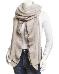 White + Warren Cashmere Ruffle Wrap - Gray
