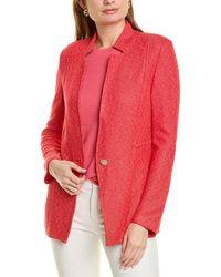 St. John Refined Knit Wool-blend Jacket - Red