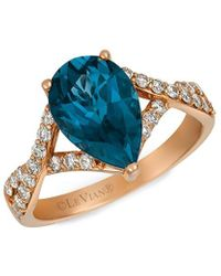 Le Vian ? Creme Brulee? 14k Strawberry Gold 2.99 Ct. Tw. Diamond & Blue Topaz Ring