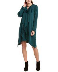 BCBGMAXAZRIA Ruffle Front Shift Dress - Green