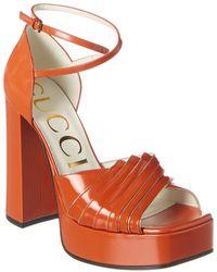 Gucci Leather Platform Sandal - Orange