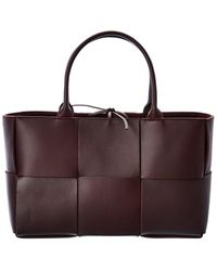 Bottega Veneta Arco Maxi Intrecciato Leather Tote - Brown