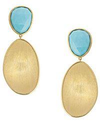 Marco Bicego Lunaria 18k Turquoise Drop Earrings - Metallic