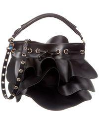 RED Valentino Rock Ruffle Xl Leather Bucket Bag - Black